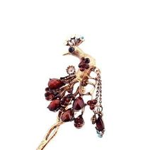New Girl Women Fashion Brown Rhinestone Peacock Ladies Hair Stick Hairpin 70 #Unbranded