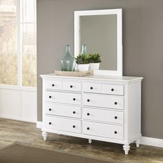 Home Styles Bermuda Brushed White Double Dresser With Mirror White 6 Drawer Dresser, Double Dresser, Dresser Drawers, Dresser As Nightstand, White Dressers, Dresser Styling, Mirrored Dresser, Bedroom Furniture, Bedroom Decor