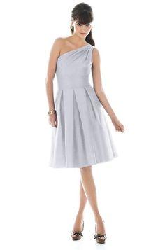 One shoulder pale grey dress