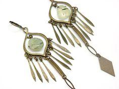 Longues Boucles d'oreilles GITANE en métal et pierre semi-précieuse Agathe mousse  / KUMKA