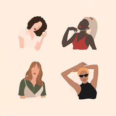 Female social media influencers collection vector | premium image by rawpixel.com / manotang Photos For Facebook, Leaf Illustration, Social Media Influencer, Banner Vector, Girl Power, Art Girl, Vector Art, African, Drawings