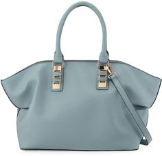 Neiman Marcus Sophia Faux-Leather Satchel Bag, Powder Blue is the hottest thing this season.