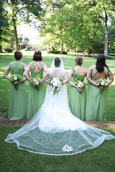 PHOTO CREDIT TO VISUALS BY HELEN  Weissinger-Biesemier Wedding Monogrammed veil Bridesmaids dresses from Weddington Way