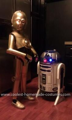 Homemade C3PO and R2D2 Couple Costume: I always wanted to be C3PO or R2-D2 as a kid for Halloween. Now with the help of my wife, I am able to live my childhood dream through my two boys.   The