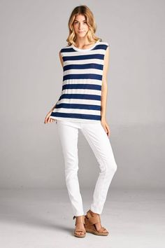 Bold navy and white stripe tank tunic. {$27 shipped, S-M-L} Purchase here: https://www.facebook.com/photo.php?fbid=10210332259208502&set=g.891556600903617&type=1&theater