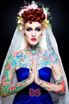 HELLO & WELCOME We are rightfully obsessed with everything about body jewelry as well as the culture of body modification that surrounds the art of piercings. be sure you use tag on posts featuring anything Body Candy Body Jewelry related - share with. Sexy Tattoos, Girl Tattoos, Tatoos, Wicked Tattoos, Sleeve Tattoos, Redhead Bride, Brides With Tattoos, Tattooed Brides, Tattooed Girls