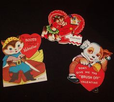 This Valentine trio is estimated to be from the 1950's to 1960's.    The Kitty Cat Valentine with the Cuckoo Clock was manufactured by A-meri-card.