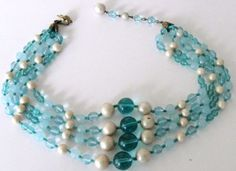 1950-Signed-MIRIAM-HASKELL-Blue-Art-Glass-Bead-Faux-Pearl-Four-Strand-Necklace-S