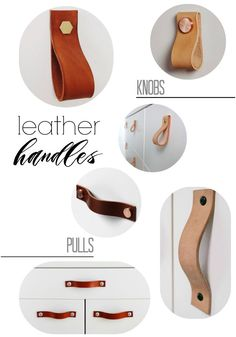 Our THOR leather kitchen door handles, leather furniture pulls are beautiful leather straps for use on doors or drawers. Each masculine strap comes with two solid metal studs for fixing; Diy Interior, Drawer Handles, Door Handles, Diy Leather Drawer Pulls, Diy Leather Handle, Ideias Diy, Malm, Knobs And Pulls, Door Pulls