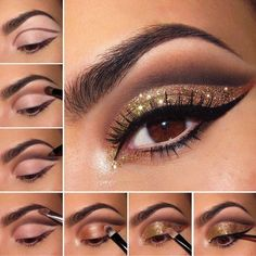 Stunning Eye Makeup for Your Next Party Tutorial Bronze and Gold smokey eye for Brown eyes - really love the extended glitter.xTutorial Bronze and Gold smokey eye for Brown eyes - really love the extended glitter. Sparkly Eyeshadow, Glitter Eyeshadow Palette, Glitter Eye Makeup, Colorful Eyeshadow, Glitter Eyeshadow Tutorial, Makeup Eyeshadow, Colorful Makeup, Glitter Hair, Black And Gold Eyeshadow