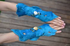 Felt Mermaid Cuffs-Matching Felt Bracelets-Wrist Warmers-Ocean Costume-Water…