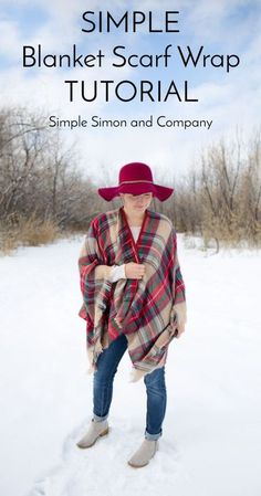 Sewing Gifts Blanket Scarf Wrap Tutorial - Simple Simon and Company Poncho Pattern Sewing, Sewing Patterns Free, Free Sewing, Poncho Patterns, Clothing Patterns, How To Wear A Blanket Scarf, Blanket Shawl, Fleece Projects, Fleece Crafts