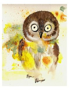 Owl - Art Print watercolor painting nursery wall hanging cute baby gift idea colorful kid's room child's décor boy girl Oladesign 8x10
