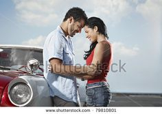 Boyfriend And Girlfriend Leaning On Vintage Car And Hugging In Havana, Cuba. Horizontal Shape, Side View, Copy Space Stock Photo 79810801 : Shutterstock