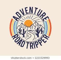 Vintage Graphics Images, Stock Photos & Vectors : Vintage Adventure Road Tripper Mountain and cactus illustration, outdoor adventure . Vector graphic design for t shirt and other uses. Illustration Cactus, Illustration Vector, Graphic Design Illustration, Mountain Illustration, Japanese Graphic Design, Vintage Graphic Design, Road Trippers, Photo Vintage, Grafik Design