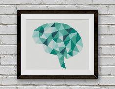 BOGO FREE! Geometric Brain Cross Stitch Pattern, Human Brain x-Stitch Chart, Human Anatomy Modern Decor, PDF Instant Download #025-15-3 by StitchLine on Etsy