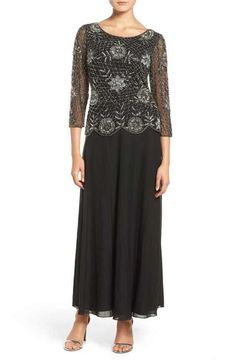 Pisarro Nights Embellished Mesh Gown (Regular & Petite)  I like the way this cover a multitude of sins but still looks very stylish.