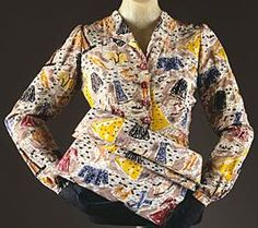 This is a blouse designed by Elsa Schiaparelli. The designer created fun garments in a time that was more serious. This garment shows depictions of rations stamps and coupons. This piece was created around out of rayon, plastic, and glass. Elsa Schiaparelli, 1940s Fashion, Vintage Fashion, Evening Blouses, Italian Fashion Designers, Textiles, Vestidos Vintage, Mode Vintage, Jacket Style