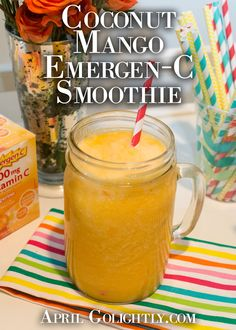 Coconut-Mango-Emergen-C-Smoothie: Emergen-C Tangerine Packet, 1 mango, 1 c milk or coconut water, 1 cup water, 2 cups ice Easy Cocktails, Cocktail Recipes, Vitamin C Drinks, Easy Dinner Recipes, Yummy Recipes, Water Recipes, Lunch Snacks, Easy Food To Make, Recipes For Beginners