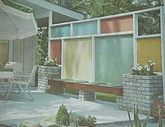 "A delightful little patio wall from the 1963 book, ""Better Homes and Gardens Landscape Planning."" Love the colored panels."