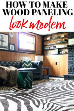 Use these five ideas to learn how to make wood paneling look modern! That's right - decorate wood paneling without painting! 3 Piece Living Room Set, Living Room Sets, Rugs In Living Room, Living Room Chairs, Living Room Decor, Room Rugs, Living Spaces, Wood Paneling Decor, Painting Wood Paneling