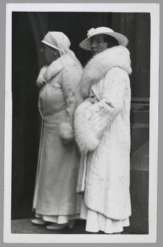 Queen Wilhelmina and her daughter Crown-Princess Juliana of the Netherlands in white mourning when visiting the grave of King Albert of Belgium in the church of Leaken (1935).