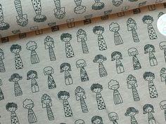Kuscheliger Baumwoll Sweat mit niedlichen illustrierten Figuren, Kindermode / diy sewing fabrics: illustrated girls, cuddly cotton sweat by marlinda's stoffhäusschen via DaWanda.com