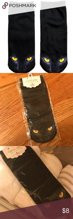 """Dark kitty socks Super cute KITTY print socks  Brand new great quality will make such  A great gift 🎁 or happy feet ❤️  Material spandex NWT Size:(L*W) 7 x2"""" available in other designs   🛍BUNDLE & SAVE 15%🛍 ✨TOP RATED SELLER✨ 📦SAME DAY OR NEXT DAY SHIPPING!📦 ❤REASONABLE OFFERS WELCOME❤ ❌NO TRADES OR PAYPAL❌ Accessories Hosiery & Socks"""
