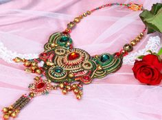 statement necklace/embroidered necklace/necklace/ jewelry/beadednecklace/necklace Baroque/handmade necklaces/ beadwork Necklace on Etsy, $305.12 AUD