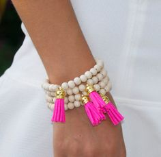 Tassel bracelet - Ivory wooden beaded bracelet - neon pink tassel - leather tassel - 1 PIECE