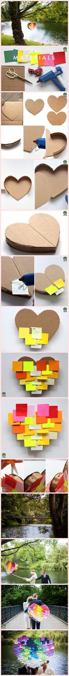 DIY Heart Pinata - Materials: Cardboard, Colorful Square Paper (like Sticky Note Pads), Glue Gun