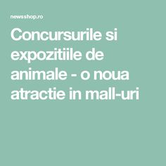 Concursurile si expozitiile de animale - o noua atractie in mall-uri