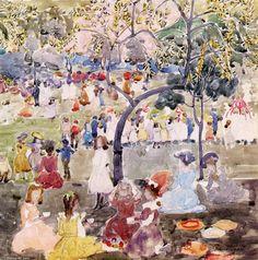"""""""Dans le parc (2)"""", aquarelle de Maurice Brazil Prendergast (1858-1924, United States)"""