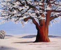 Painting «Oak Tree Winter Scene» by Nadine Lière, Acrylic on canvas board, 60 x 50 cm, 2014, grenadine-art.eu