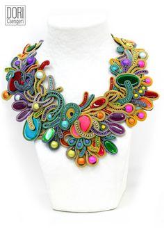 necklaces : Euphoria - Dori Csengeri - Hand Embroidered Jewelry - Haute Couture Designer Jewellery