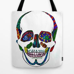 The Pieces Fit Ink Mosaic Skull Tote Bag by whatjacquisaid - $22.00