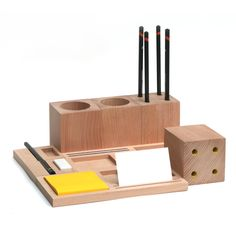 Check out the Kukka Blocks Desk Set in Desk Organizers & Trays, Office Accessories from Module R for Stationary Organization, Desktop Organization, Desktop Storage, Wooden Desk, Wooden Doors, Cnc Router, Wooden Organizer, Interior Wallpaper, Desk Tidy