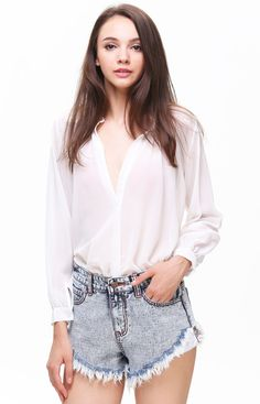 White Stand Collar Long Sleeve Chiffon Blouse 14.00