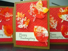Thanksgiving Cards Set of 3 Happy Thanksgiving by apaperaffaire