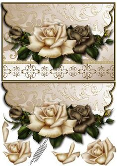 Coffee and cream roses envelope card with decoupage on Craftsuprint designed by Amanda McGee - A pretty envelope card that would suit many different occasions - Now available for download!