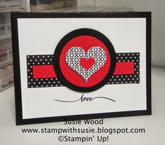 Stampin' Up!- A VALENTINES card created with the Stacked with Love DSP!