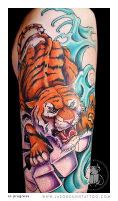 Want this on my theigh G Tattoo, Tiger Tattoo, Body Tattoos, Sleeve Tattoos, Tatoos, Jason Clay Dunn, Jason Dunn, Parent Tattoos, Tattoo Portfolio