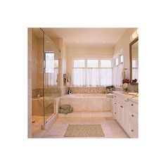 Soothing Master Bathroom ❤ liked on Polyvore featuring bathrooms, homes, house and stanze