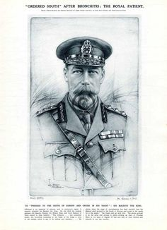 1925 King George V Portrait Article Print from Photo-Etching Influenza Patient Influenza, Blue Bloods, Queen Mary, King George, Descendants, Sick, Royalty, British, Cold