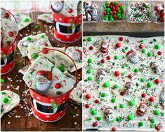Easy Christmas Santa and Snowman Bark Christmas Bark, Christmas Sprinkles, Christmas Snowman, Christmas Treats, Simple Christmas, Christmas Cookies, Christmas Foods, Chocolate Graham Crackers, Caramel Corn