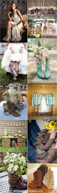 Country Weddings - [tps_header]Looking for a perfect pair of boots for your fall wedding day? Have a rustic or country wedding theme? Then you need to continue to read this article and look at pics below for sure! I absolutely love the . Wedding Pics, Wedding Themes, Trendy Wedding, Fall Wedding, Our Wedding, Dream Wedding, Wedding Rustic, Rustic Country Weddings, Wedding Barns