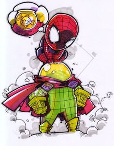 Hey! Is this a fishbowl on your head? =^______________^= Spidey / Mysterio chibi for sir Julius Amores