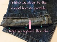 How to shorten jeans - I just did this and it worked so well.