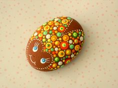 Paint rocks - dot art - ladybug - garden stones - glow in the dark art - brown orange yellow green - Easter basket stuffer - Mothers day gift idea.