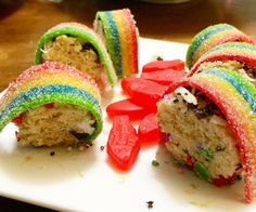 Colorful Dessert Sushi [made With Rice Krispies]